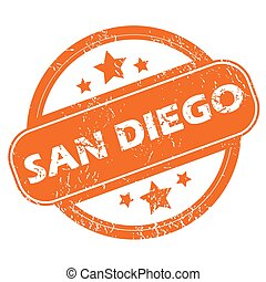 San Diego round stamp - Round rubber stamp with city name...