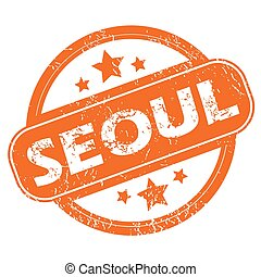 Seoul round stamp - Round rubber stamp with city name Seoul...