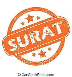 Surat round stamp - Round rubber stamp with city name Surat...