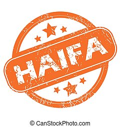 Haifa round stamp - Round rubber stamp with city name Haifa...