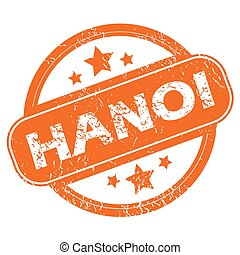 Hanoi round stamp - Round rubber stamp with city name Hanoi...