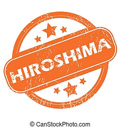 Hiroshima round stamp - Round rubber stamp with city name...