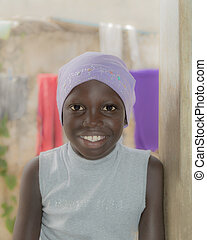 African girl, ten years old - African girl wearing a cotton...
