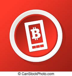 Bitcoin screen icon on red