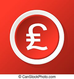 Pound sterling icon on red - Round icon with pound sterling...