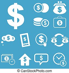 Dollar icon set - Vector set of icons with different dollar...