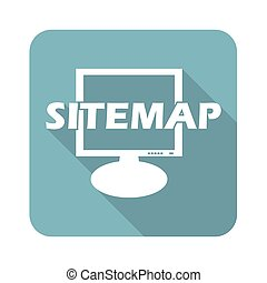 Sitemap square icon - Square icon with text SITEMAP in front...