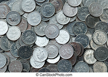 Five pence coins - A background of British five pence coins