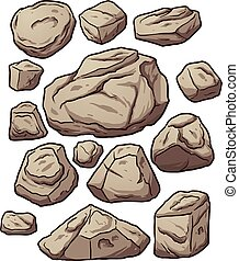 Cartoon boulders Cartoon boulders, rocks and pebbles Vector...
