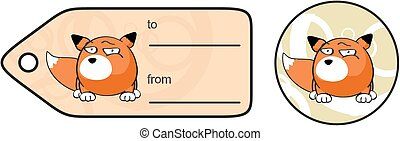 fox ball cartoon giftcard in vector format very easy to edit...