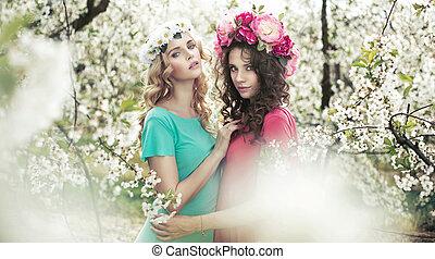 芬香, 可愛, 花園, 婦女