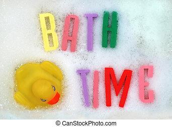 Bath time - The words \'bath time\' written in foam letters....
