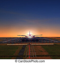 passenger jet plane approaching on airport runways preparing...