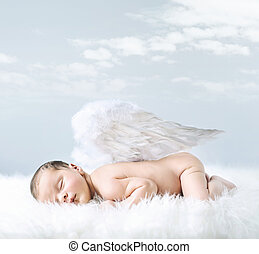 Portrait of a little baby as an angel - Portrait of a little...
