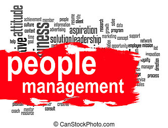 People management word cloud with red banner