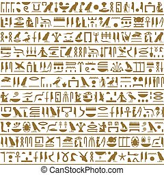 Ancient Egyptian Hieroglyphs Seamless Horizontal - Ancient...