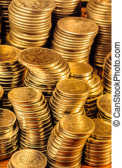 Gold Coins Stack - Golden coins stacks business wealth and...