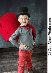 Portrait of a proud little magician - Portrait of a proud...