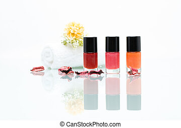 Colorful nail polishes - Colorful Nail polishes and Towel...