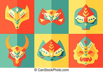 Ethnic, Origami, Carnival Mask Vector Illustration - Set of...