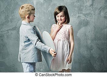 Romantic portrait of two little children - Romantic portrait...