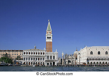 san marco tower, piazza san marco and the doges palace,...