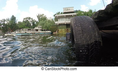 Car camera jetty on river