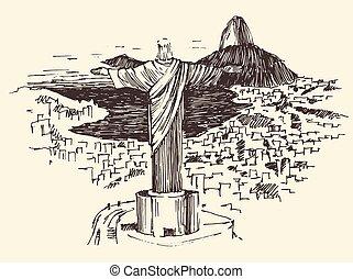 Rio de Janeiro City, Brazil Engraved Illustration - Rio de...
