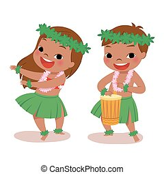 little hula dancers - illustration of hawaiian boy playing...
