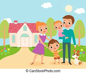 happy family - illustration of happy family in front of...