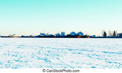 Ships in Port on Frozen Lake in Winter, Panoramic 4K Ultra...