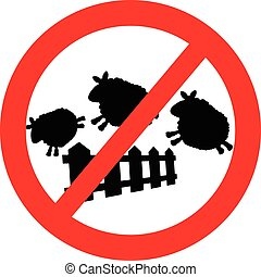 vector of sheep jumping over a fence with Red forbidden traffic sign