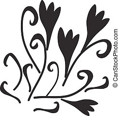 Black silhouette of flowers ornament. Vector illustration
