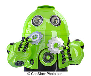 Green robot with gears. Isolated, contains clipping path.