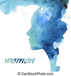 Female profile with a stylish haircut - Woman chat vector...