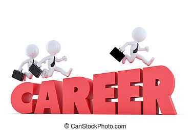 Concept of business challenge. People running over career ladder. Isolated. Clipping path