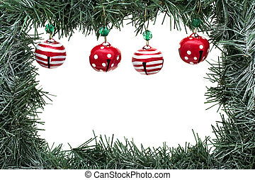 Garland Border - A green garland border with Christmas bells...