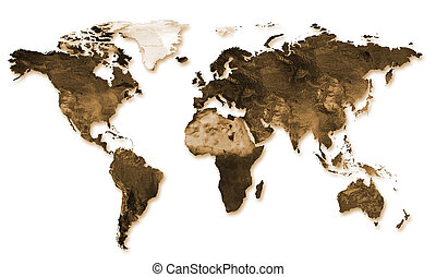 world map in relief - a world map in sepia embossed on a...