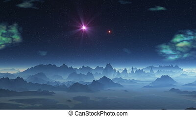 Two UFOs flying over alien planet