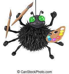 3d Halloween spider is an artist - 3d render of a spider...