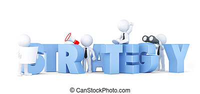 Business team with STRATEGY sign Business concept Isolated...