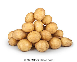 new potatoes big heap isolated on white background