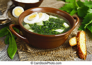 Soup of sorrel and nettles with eggs - Soup of sorrel and...
