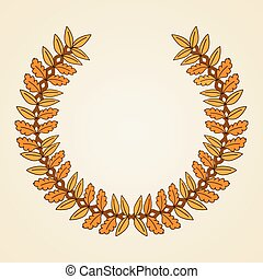 Golden coat of arms Wreath with yellow leaves Vector...