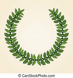 Green coat of arms Wreath with green leaves Vector...