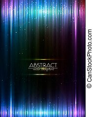 Blue vertical shining lights lines abstract leaflet...