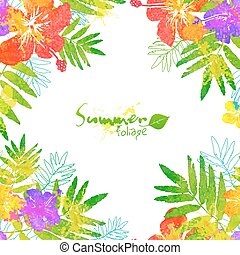 Bright tropical flowers vector summer frame on white...