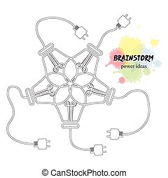 brain storm - five lightbulbs on white background with text...