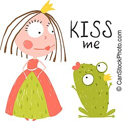 Baby Princess and Frog Asking for Kiss - Kids love story...
