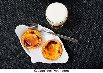 Portuguese egg tart pastry - Pastel de Belem or Nata,...